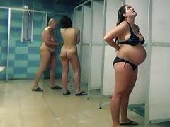 Cameravoyeur - Pregnant and Mature Women Public Pool Shower