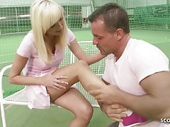 Tennis Coach seduce skinny Teen to Anal direct Fuck on Court