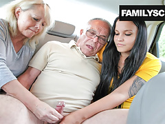 Mother and Daughter Taking Care of Grandpa's Needs