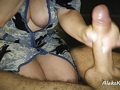 deep blowjob in the kitchen and handjob to orgasm